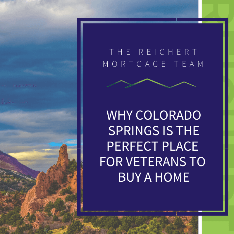 Reichert Mortgage blog image with title 'why Colorado Springs is the perfect place for veterans to buy a home' with image of Garden of the Gods during sunset
