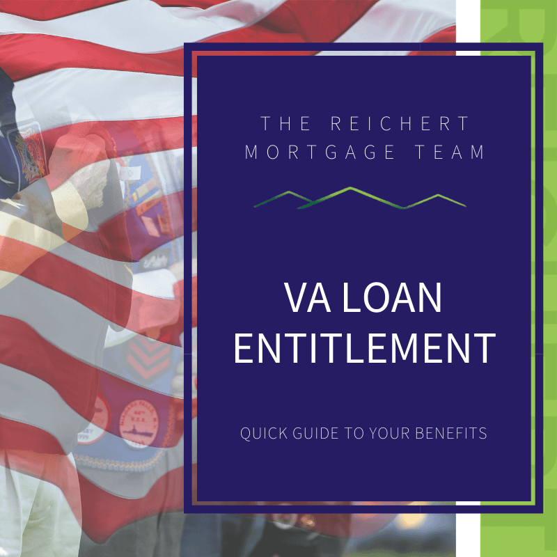 "3 veterans saluting behind a transparent American flag with text of ""va loan entitlement"""