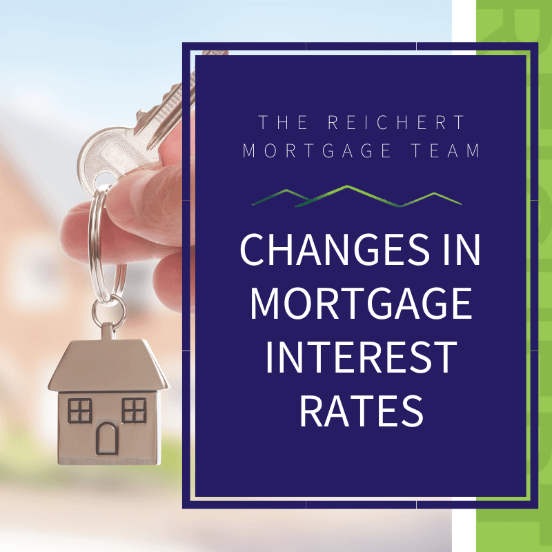 Block image with a silver house key chain with a single key and the title 'Changes in Mortgage Interest Rates'