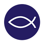 Fish symbol with purple background