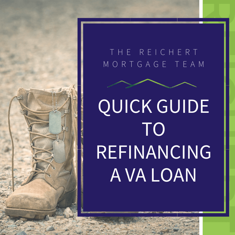 Blog image with military boots and the title 'Quick Guide to Refinancing a VA Loan'