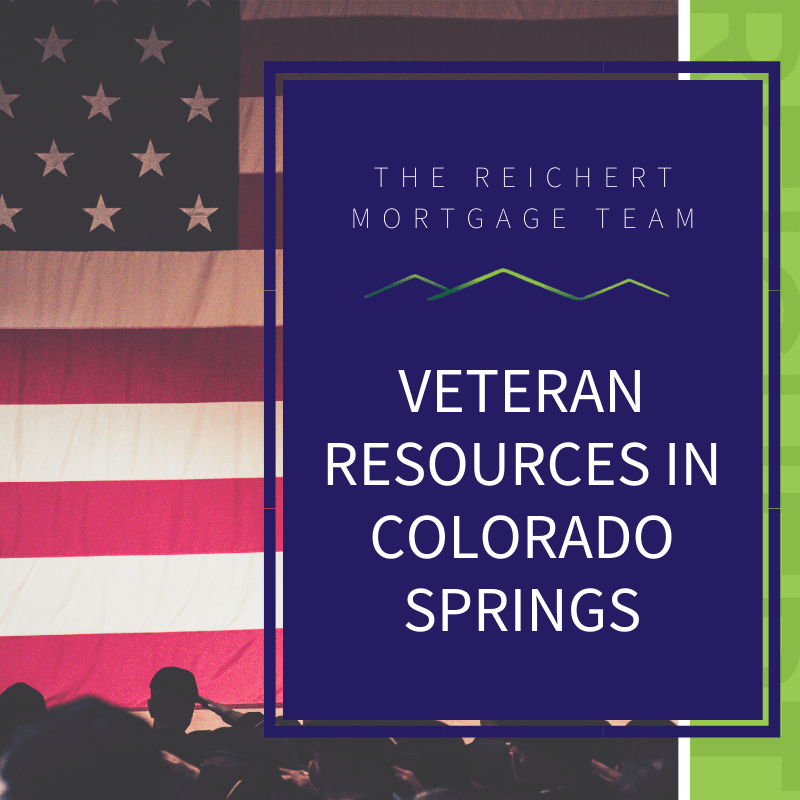 Reichert Mortgage Team blog image with title 'Veteran resources in Colorado Springs' and image of military members saluting the American flag